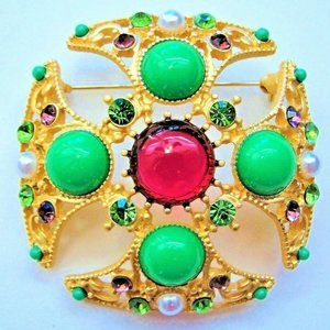 Jewelry - Gold Ruby JEWEL Maltese CROSS Rhinestone Brooch